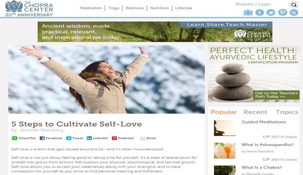 5 Steps to Cultivate Self-Love: a powerful article from Dr. Jennifer Weinberg MD www.JenniferWeinbergMD.com via Chopra.com