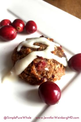 Festive #Vegan #GrainFree Cranberry #Cookies with a Vanilla Drizzle #Paleo #GlutenFree #EggFree #DairyFree #NutFree #bake #baking #cookie #cook #recipe #healthy #healthybaking #healthyrecipe #christmas #christmascookie www.JenniferWeinbergMD.com