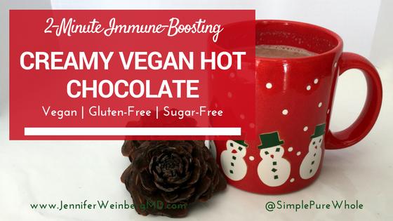 2-Minute Immune-Boosting Creamy Vegan Hot Chocolate #healthy #health #hotchocolate #chocolate #vegan #glutenfree #recipe #healthyrecipe #veganrecipe #glutenfreerecipe #dairyfree #nutfree #sugarfree #eggfree #allergyfriendly #winter #cozy
