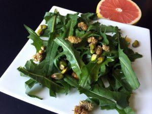 Dandelion #Salad with Mulberries and Pistachios with a Citrus Dressing: #citrus #dressing #recipe #glutenfree #grainfree #paleo #vegan #vegetarian #dandelion #health #healthy #healthyrecipe